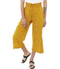 pantalón culotte print amarillo flores mujer corona