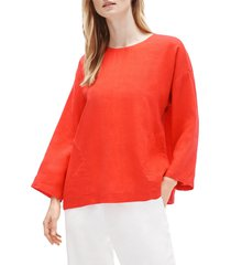 women's eileen fisher organic linen boxy tunic, size large - orange
