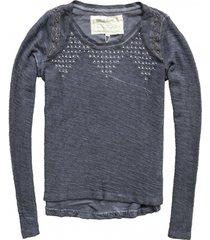 garcia sweater met kraaltjes en zilverdraad