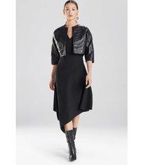 embossed faux leather jacket, women's, black, size s, josie natori