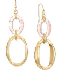 style & co gold-tone & stone link double drop earrings, created for macy's