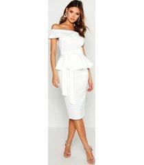 off the shoulder peplum midi dress, white