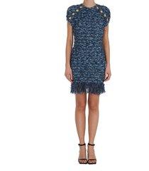 balmain fringed tweed dress