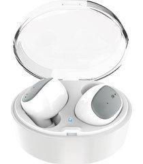 audifonos manos libres bluetooth deportivos, u08s auriculares inalámbricos bluetooth 4.2 mini auriculares estéreo de doble gancho con auriculares de recarga de la caja usb para el teléfono (blanco)