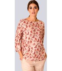 blouse alba moda roze::rood::zwart