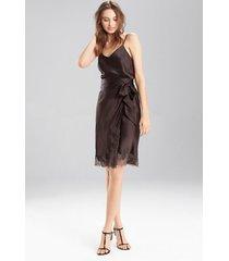 lolita wrap skirt pajamas, women's, brown, 100% silk, size l, josie natori