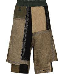 by walid bermuda patchwork shorts - green