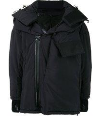 niløs double collar padded jacket - black