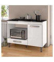 balcáo para cooktop 5 bocas e forno microondas carla branco - ajl móveis