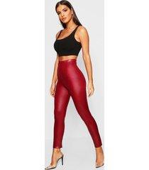 leather look stretch leggings, burgundy