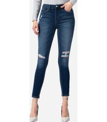 vervet high rise inserted pintuck waistband and pocket band skinny jeans