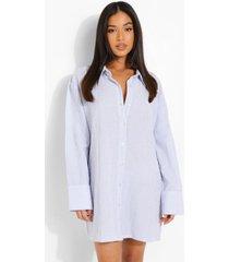 petite oversized nachtjapon met krijtstrepen, blue