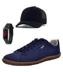 sapatênis masculino casual azul com relógio e boné