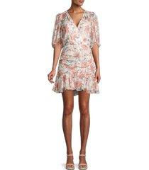 rebecca taylor women's amelie silk-blend floral dress - snow combo - size 4