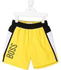 boss kidswear colour-block logo-print swim shorts - yellow