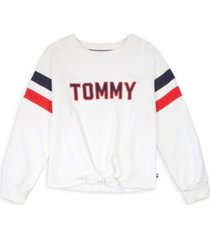 tommy hilfiger big girl's pieced tie-front crewneck sweatshirt