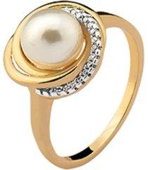 anel la madame co elos cravejados cristais zircônias com pérola banhado a ouro 18k