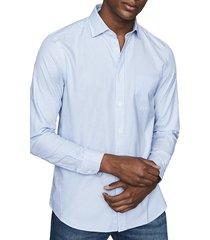 men's reiss cadet slim fit stripe button-up shirt, size x-large - blue