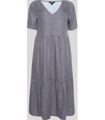vestido feminino estampa assimétrica manga curta azul marinho