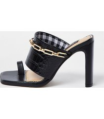 river island womens black wide fit chain detail mules