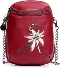 telefono in pelle pu borsa a tracolla casual per donna mini ricamo fiore borsa