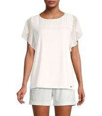 calvin klein women's pintuck-pleated blouse - soft white - size xs