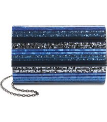 kurt geiger london stripe envelope clutch - blue