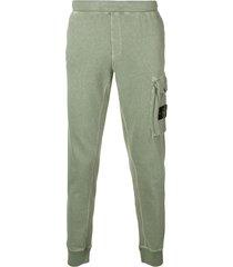 stone island cargo pocket track pants - green
