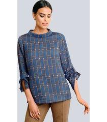 blouse alba moda blauw::taupe::offwhite