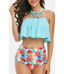 lattice cut out floral overlay tankini swimwear