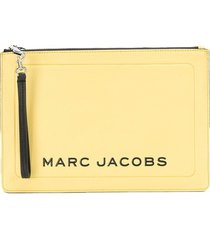 marc jacobs the box top-zip textured wallet - yellow