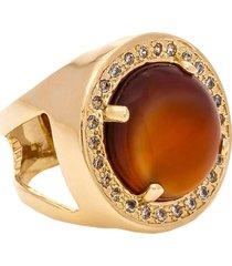 anel kumbayá redondo  semijoia banho de ouro 18k pedra natural ágata e cravaçáo de zircônias - tricae