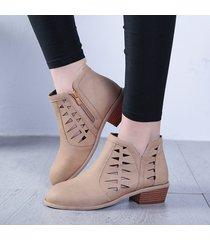 plus size women footwear hollow stivaletti con zip sul tacco basso