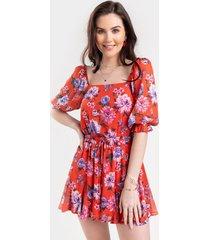 women's jess floral godet romper in red by francesca's - size: s