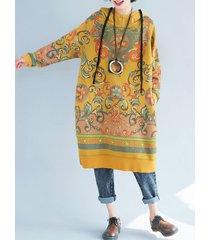 abito da donna vintage con maniche lunghe in stile folk con cappuccio
