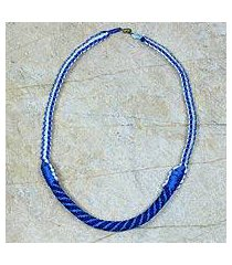 braided necklace, 'ashanti muse in light blue' (ghana)
