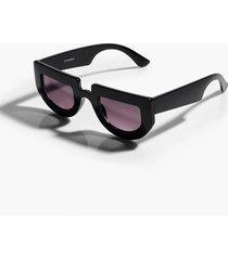 chunky flat top round edge sunglasses, black