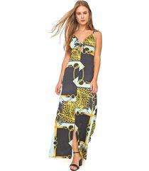 vestido fiveblu longo estampado preto/amarelo - kanui