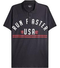 polo hombre run faster color negro, talla l