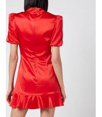 de la vali women's bluebell dress - solid red/black frogs - uk 12