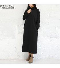 zanzea manera de las mujeres de los vestidos maxi ocasional otoño vestido sólido vestidos de manga larga de cuello alto más el tamaño m-5xl kaftan negro -negro