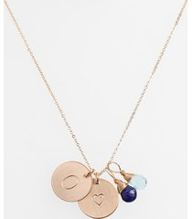 nashelle blue quartz initial & heart 14k-gold fill disc necklace in royal blue and ocean blue o at nordstrom