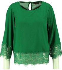 amélie & amélie groene polyester blouse 7/8e mouw