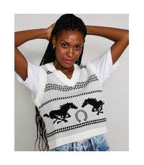 colete de tricô feminino mindset cropped estampado com cavalos decote v off white