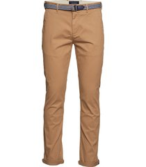 ams blauw stuart chino with belt in stretch peached quality chinos byxor brun scotch & soda