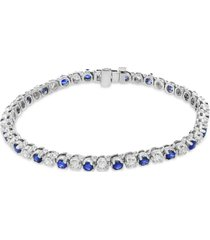 effy sapphire (3 ct. t.w.) & diamond (2-1/6 ct. t.w.) tennis bracelet in 14k white gold