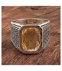 men's citrine ring, 'golden greek key' (india)
