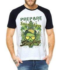camiseta criativa urbana raglan verão férias praia surf - masculino