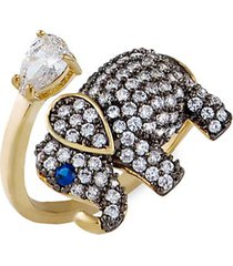 animal 14k goldplated & crystal wrap ring
