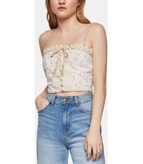 bcbgeneration lace-trim crop top